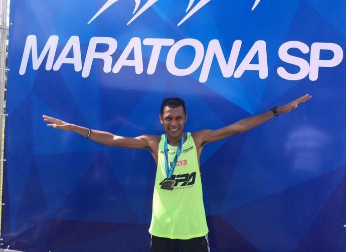 Edson Amaro, maratona de São paulo (Foto: Marciano Barros/ Arquivo pessoal)