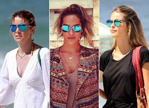 [MODA] Óculos Espelhado Colorido - Christine Fernandes, Giovanna Ewbank e Yasmin Brunet (Foto: Dilson Silva / Agnews - Instagram / Reprodução - J.Humberto / AgNews)
