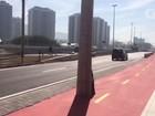 Cariocas criticam presença de postes em ciclovia perto do Parque Olímpico