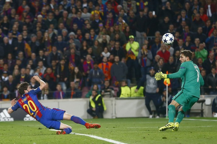 gol de sergi roberto, barcelona x psg (Foto:  EFE/Quique García)