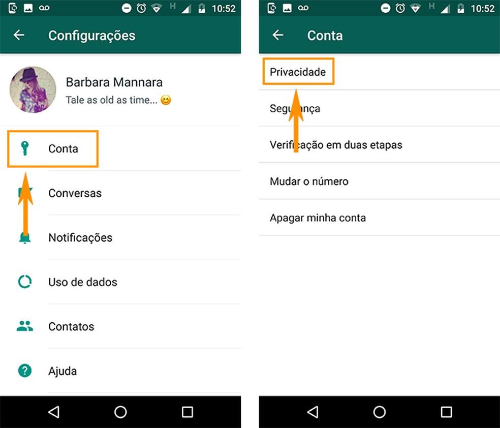 Acesse a privacidade da conta no WhatsApp para Android (Foto: Reprodução/Barbara Mannara)
