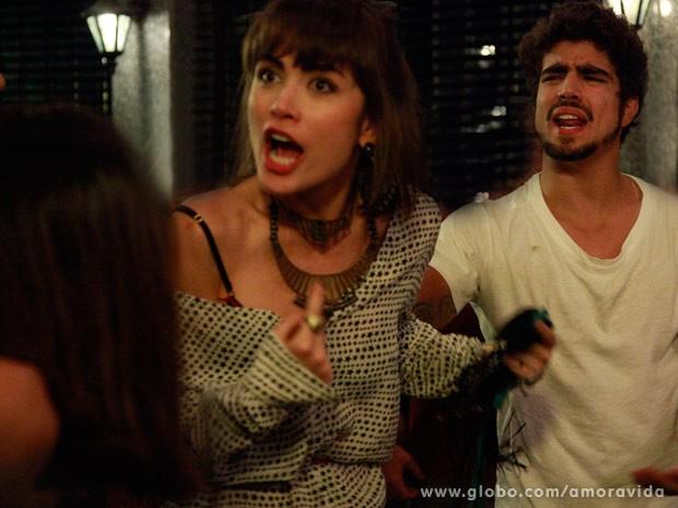 Patricia e Michel brigam com Guto e Silvia (Foto: Ellen Soares/ TV Globo)