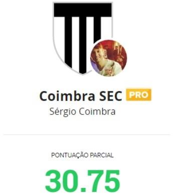 'Coimbra SEC' tem 30.75 pontos de parcial na rodada #33 (Foto: Reprodução/Cartola FC)