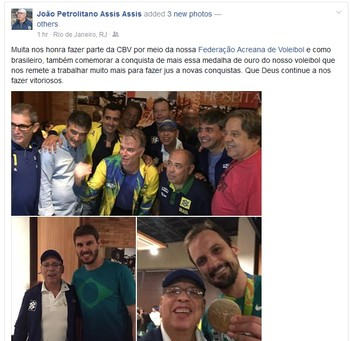 João Petrolitano, presidente da Feav, posta fotos com campeões olímpicos do vôlei (Foto: Reprodução/Facebook)