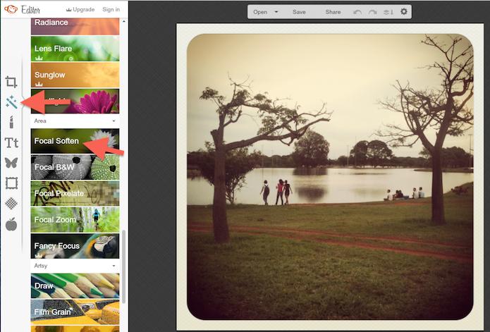 Acessando a ferramenta de desfoque do PicMonkey (Foto: Reprodução/Marvin Costa)