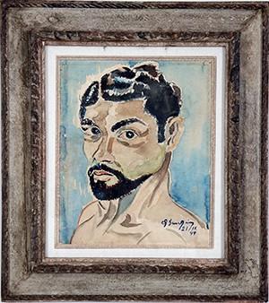 """Pintura """"Autoretrato"""", por Antonio Bandeira, de 1944. Acervo da Fundação Edson Queiroz (Foto: Ares Soares/Unifor)"""