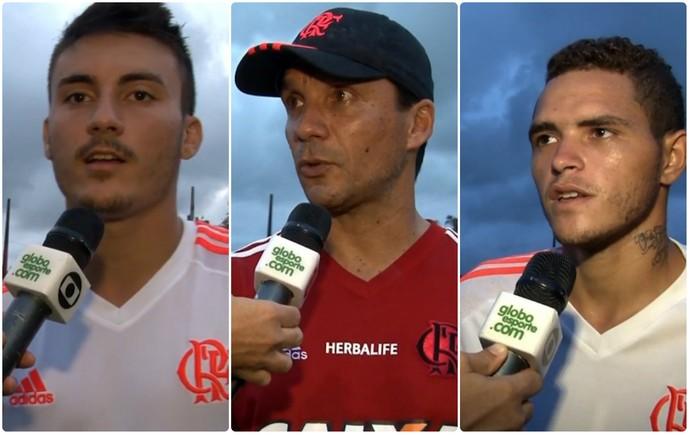 Nathan, técnico Zé Ricardo e Thiago Santos, todos do sub-20 do Flamengo (Foto: Reprodução TV Globo)