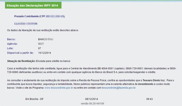 Site da Receita mostra restituição de IR liberada no último lote (Foto: Reprodução)