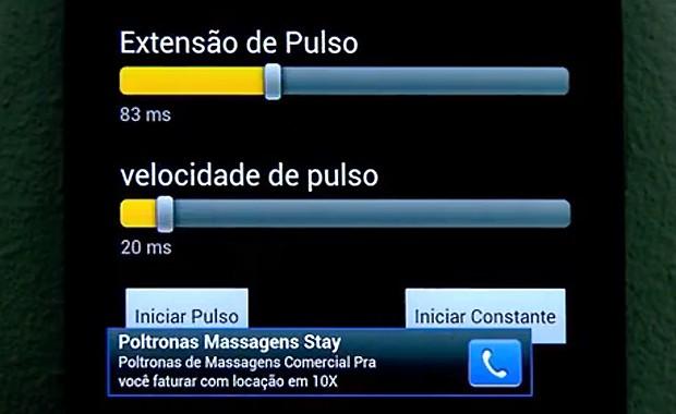 Aplicativo para celular transforma o aparelho num massageador (Foto: Reprodução EPTV)