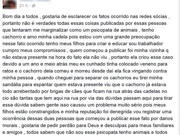 Suspeito de espcancar cachorro postou relatou o caso no Facebook (Foto: Reprodução/Facebook)