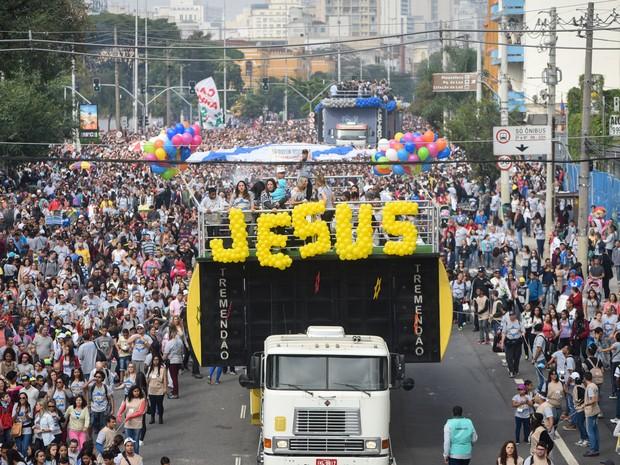 Marcha para Jesus reúne multidão em São Paulo (Foto: Flavio Moraes/G1)