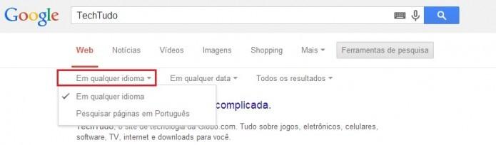 É possível colocar a pesquisa apenas em português (Reprodução/Taysa Coelho)