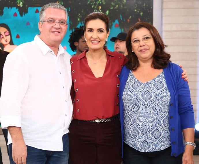 Casal convidado com a Fátima  (Foto: Fabiano Battaglin/Gshow)