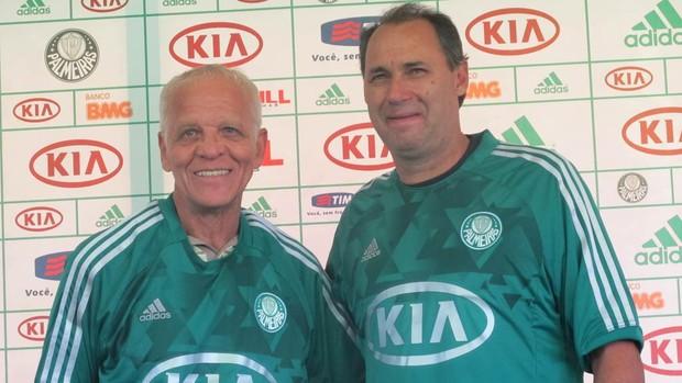 Ademir e Evair apresentação novo uniforme Palmeiras (Foto: Diego Ribeiro / Globoesporte.com)