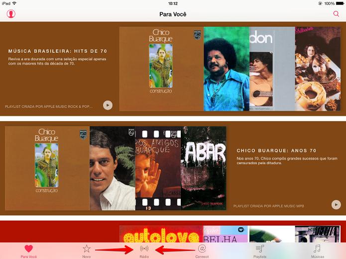 Toque no botão Rádio para ter acesso à Beats 1 (Foto: Felipe Alencar/TechTudo)