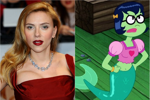 A voz de Scarlett Johansson ficou muito famosa no filme 'Ela', mas a atriz já tinha interpretado a princesa Mindy em 'Bob Esponja: O Filme' (Foto: Getty Images e Divulgação)