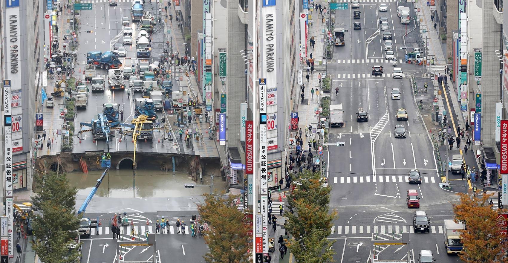 Via em Fukuoka já estava em plenas condições de funcionamento uma semana depois do aparecimento de uma enorme cratera (Foto: Jiji Press/AFP)