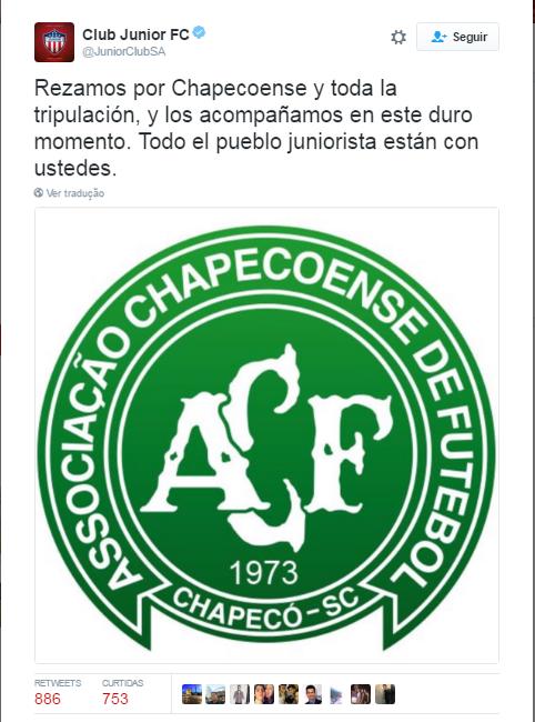 Junior Barranquilla Chape (Foto: Twitter)