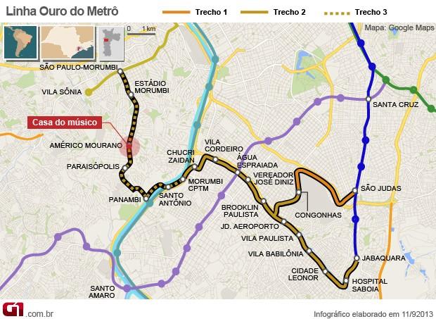 mapa benito di paula metrô linha ouro são paulo (Foto: Editoria de Arte/G1)