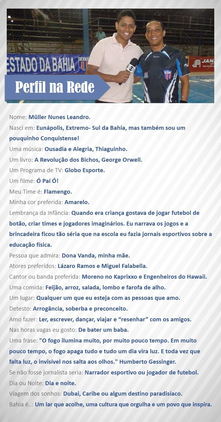 Perfil na Rede com Müller Nunes, TV Oeste (Foto: Divulgação / Rede Bahia)