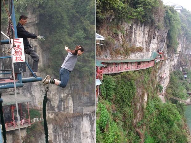 À esquerda, turista pula de bungee jump na área do restaurante (Foto: Han Yuhong / Imaginechina/ AFP)