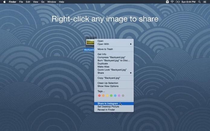 Envie fotos do seu computador pelo menu contextual
