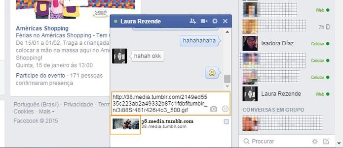 Cole o link do GIF no chat do Facebook (Foto: Reprodução/Barbara Mannara)