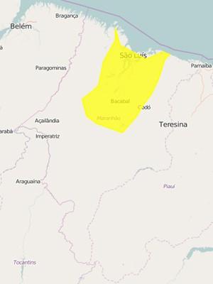 110 cidades estão na zona de alerta do Inmet (Foto: Reprodução/Inmet)