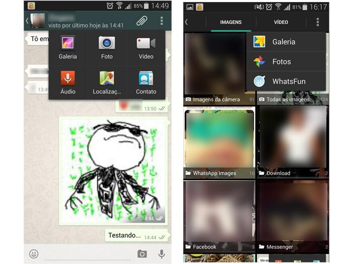 WhatsFun deve ser selecionado a partir da galeria de imagens do WhatsApp (Foto: Reprodução/Barbara Mannara)