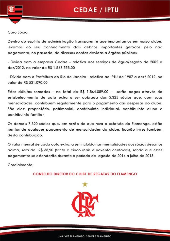 Carta Flamengo Sócios  (Foto: Divulgação)
