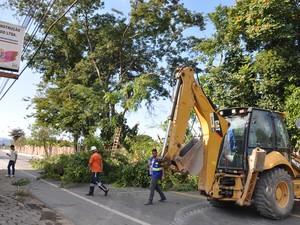 Árvores são podadas no bairro Freitas Soares, em Porto Real (Foto: Divulgação/PMPR)