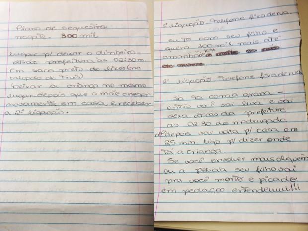 Susana teria escrito em folhas de caderno o plano do sequestro (Foto: Cristiane Cardoso/G1)