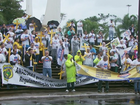 Policiais rodoviários federais fazem mobilização em Foz do Iguaçu, no PR