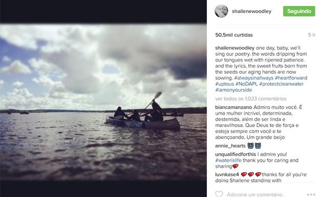 Shailene Woodley se manifesta após ser libertada de detenção por protesto (Foto: Reprodução/Instagram)