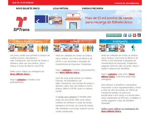 Página http://bilheteunico.sptrans.com.br/ permite a inscrição no Novo Bilhete Único (Foto: Reprodução/SPTrans)