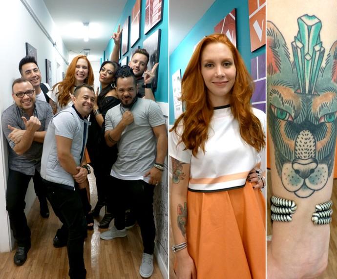 Vocalista da banda Georgia mostra detalhes da tatuagem no braço (Foto: Bruna Magalhães / Gshow)
