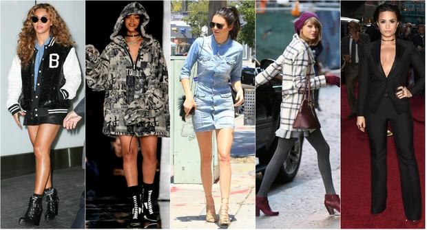 Cinco tendências para o outono-inverno 2016: Beyoncé usa jaqueta college, Rihanna é fã do moletom com capuz, Kendall Jenner é adepta do visual todo jeans, Taylor Swift  aposta no xadrez preto e branco e Demi Lovato sabe ser sexy com look de alfaiataria (Foto: AKM e X-17)