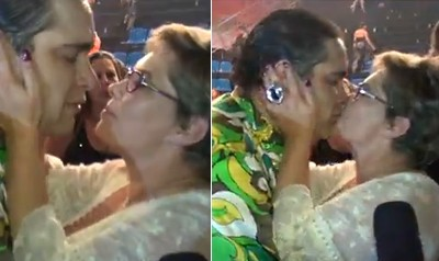 Tiago recebe o carinho da mãe, Cintia Abravanel (Foto: Domingão do Faustão / TV Globo)