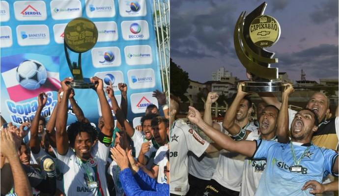 Real Noroeste (campeão da Copa Espírito Santo) e Estrela (atuação vencedor do Capixabão) (Foto:  Wildson Lesqueves e Vitor Jubini)