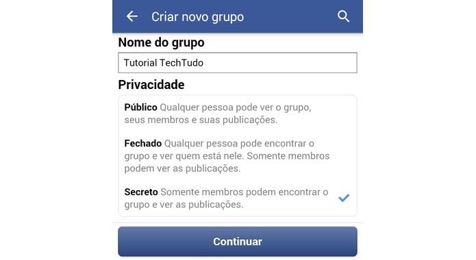 Tela de definição do nome e privacidade do grupo do Facebook (Foto: Reprodução/ Raquel Freire)