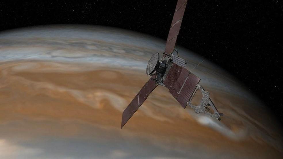 A sonda Juno partiu para Júpiter em 5 de agosto de 2011 e chegou à órbita do planeta em 5 de julho de 2016  (Foto: NASA/JPL-Caltech)