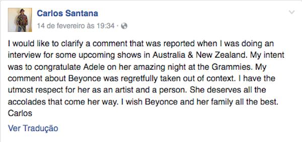As desculpas de Carlos Santana a Beyoncé (Foto: Facebook)