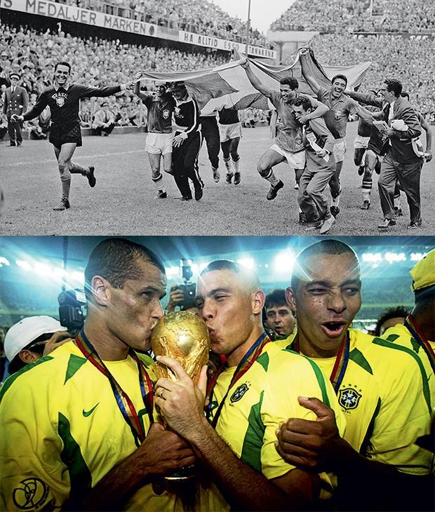 NA ALEGRIA A euforia da primeira vitória, em 1958, na Suécia.  E a celebração de Rivaldo, Ronaldo  e Cafu na última conquista, em 2002, no Japão (Foto: AP e  Alex Livesey/Getty Images)