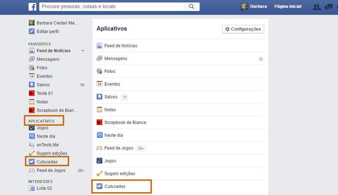 Acesse o menu do Facebook para encontrar o item de Cutucadas (Foto: Reprodução/Barbara Mannara)