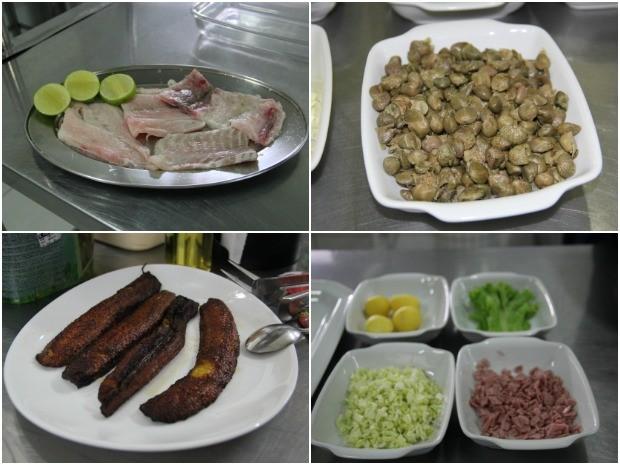 Filé de tambaqui, alcaparras, banana pacovã frita, batatas bolinhas, alface, presunto e repolho são alguns dos ingredientes (Foto: Suelen Gonçalves/ G1 AM)