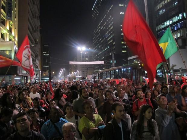 Manifestação na Paulista  (Foto: Guilherme Tosetto/G1)