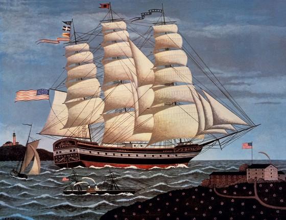 Litoagrafia de uma fragata,modelo de navio no qual Herman Melville viajou pelas américas (Foto: Universal History Archive/UIG via Getty Images)