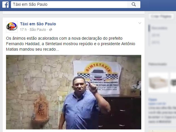 Presidente de sindicato dos taxistas critica Haddad em vídeo na internet (Foto: Reprodução/Facebook)