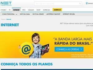 Site da Net informando sobre os serviços de internet (Foto: Reprodução/Net)