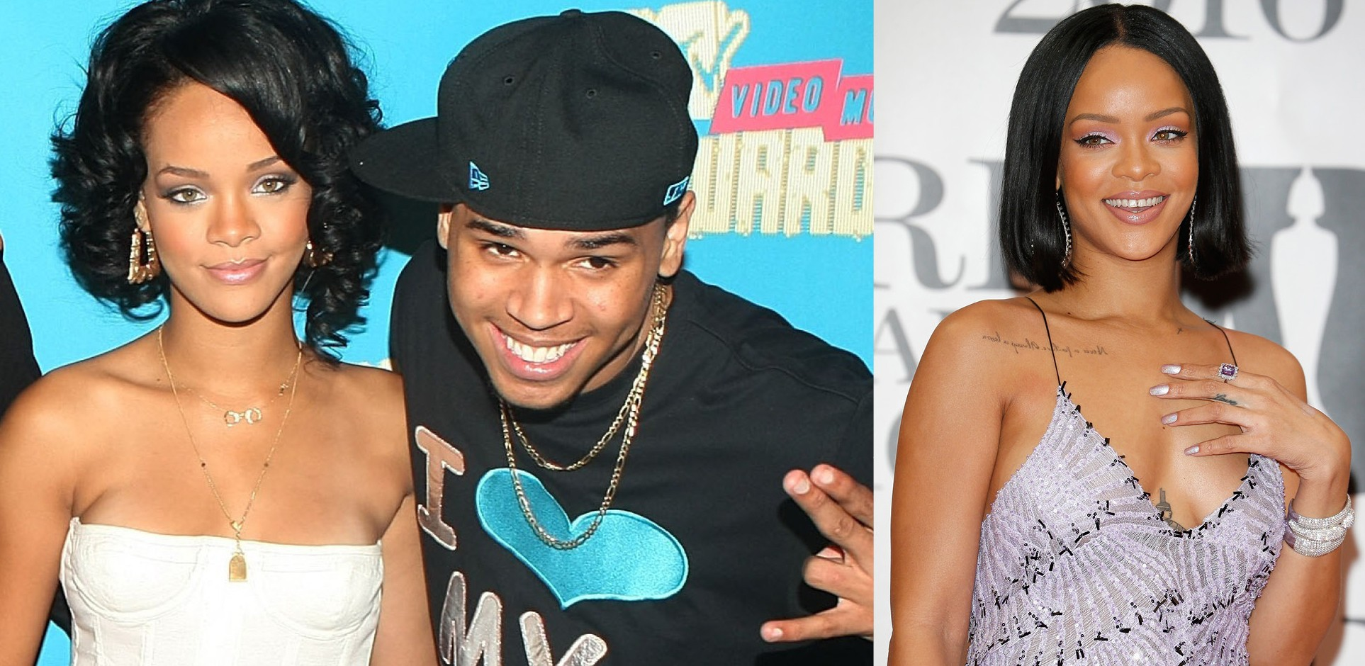 Rihanna e Chris Brown em 2007. E Rihanna em 2016 (Foto: Getty Images)